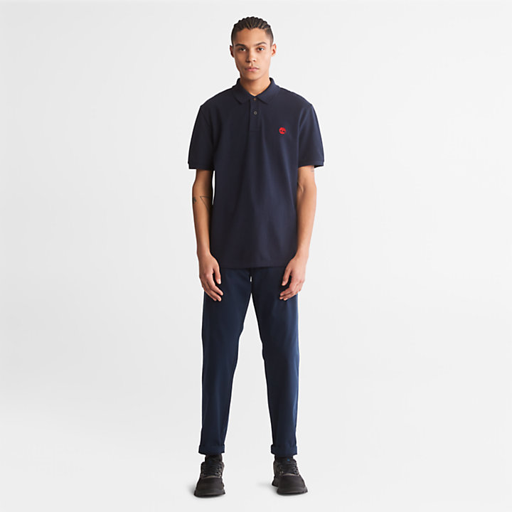 Millers River Pique Polo Shirt for Men in Navy-