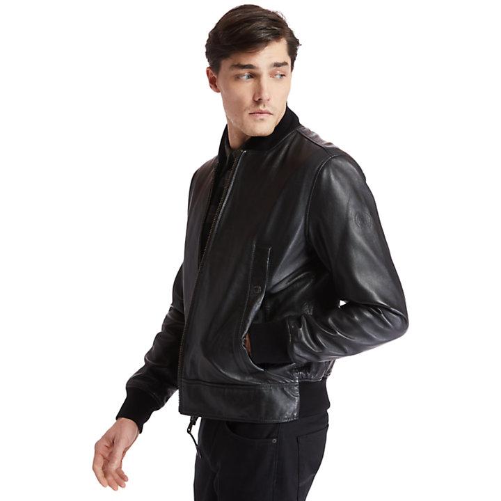 Veste en cuir souple pour homme en noir-
