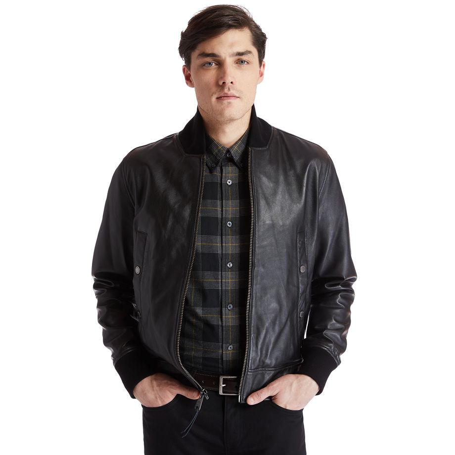Timberland Soft Leather Jacket For Men In Black Black, Size S
