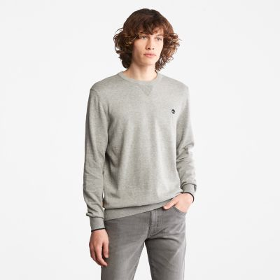 Pull+en+coton+bio+Williams+River+pour+homme+en+gris