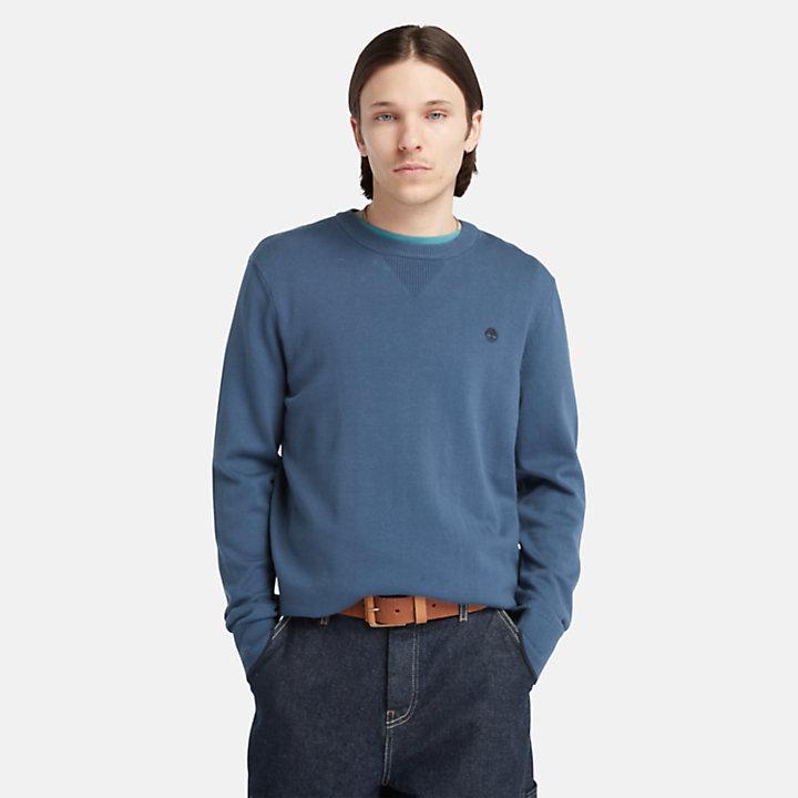 Pull en coton biologique Williams River pour homme en bleu marine-