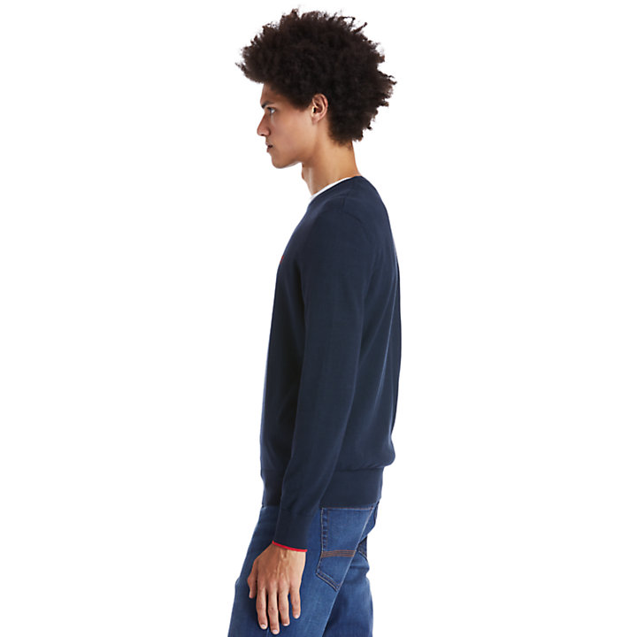 Williams River Organic Cotton Sweater for Men in Dark Blue-