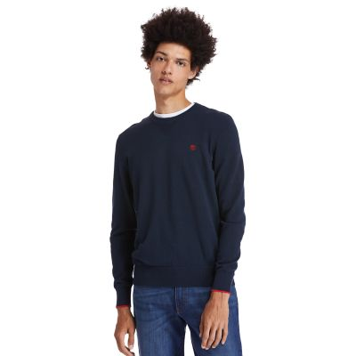 Maglione+da+Uomo+in+Cotone+Biologico+Williams+River+in+blu+scuro