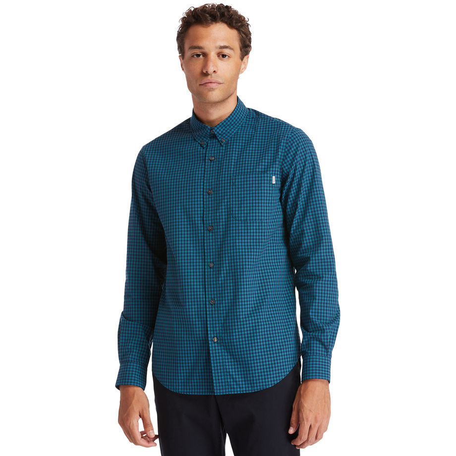 Timberland Indian River Gingham Shirt For Men In Teal Teal, Size M
