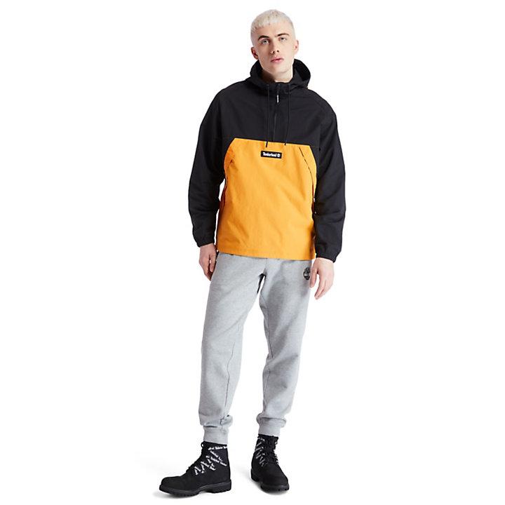 Pullover Windbreaker Jacket for Men in Black-