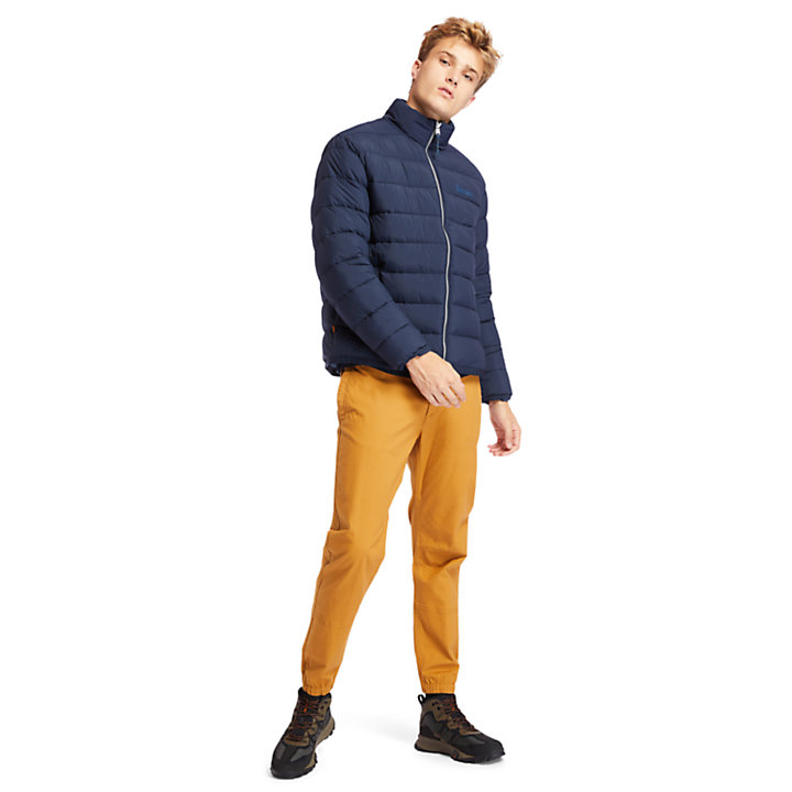 Garfield Funnel-Neck Quilted Jacket for Men in Navy-