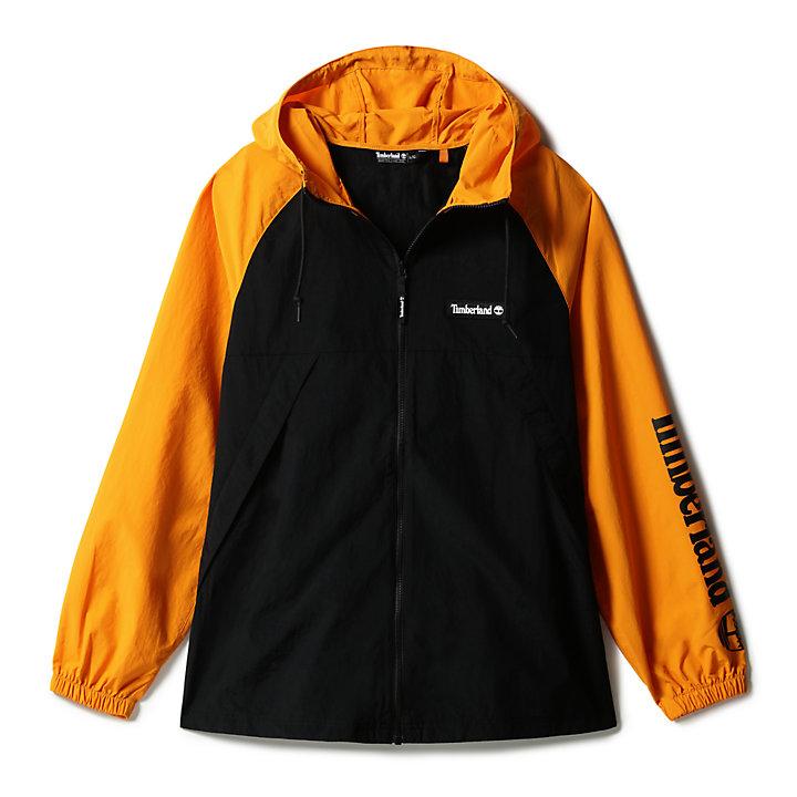 Veste coupe-vent zippée pour homme en orange/noir-