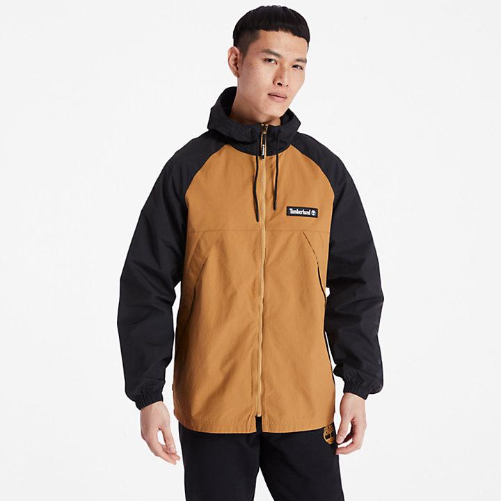 Veste coupe-vent zippée pour homme en noir/jaune-