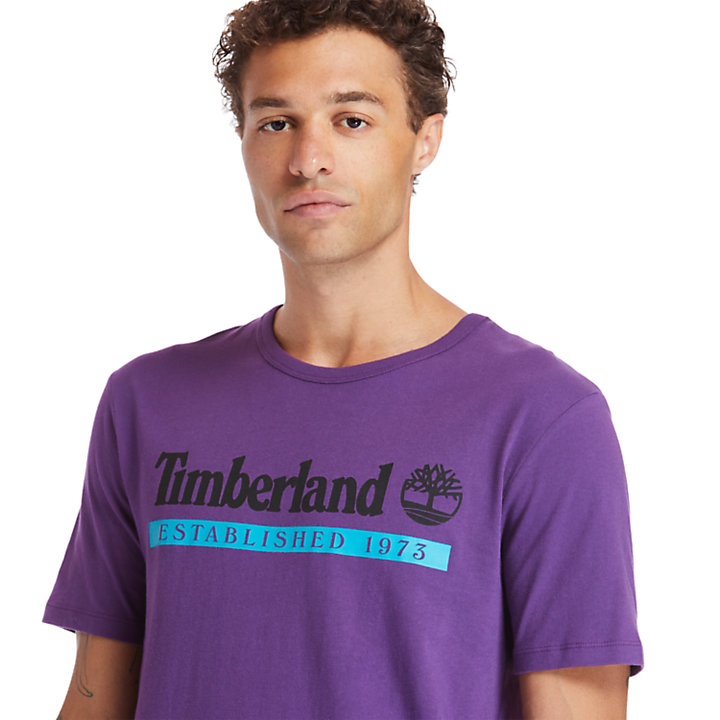 Camiseta Established 1973 para Hombre en morado-