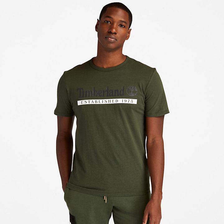 Camiseta Established 1973 para Hombre en verde oscuro-