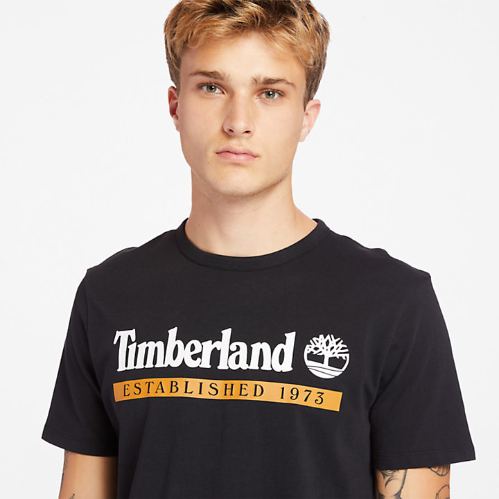 Established 1973 T-Shirt for Men in Black-