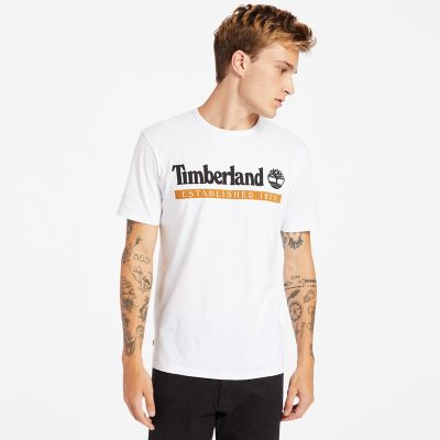 T-shirt+da+Uomo+Established+1973+in+bianco