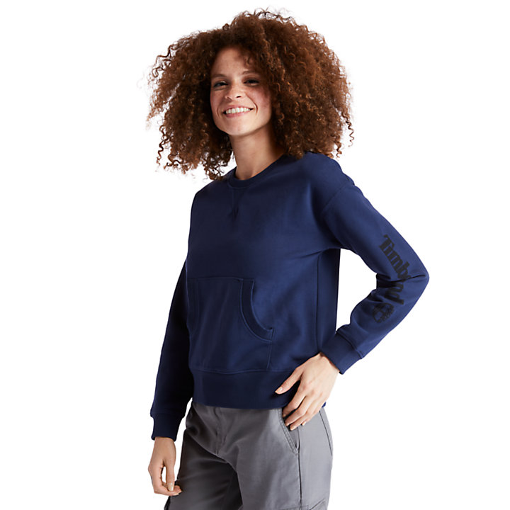 Sleeve Logo Sweatshirt for Women in Navy-
