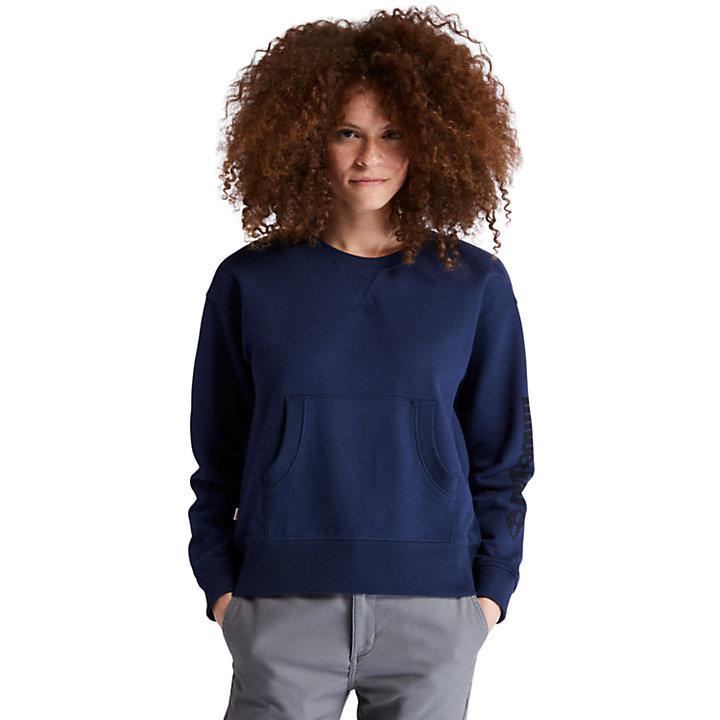Sweatshirt für Damen mit Logo am Ärmel in Navyblau-