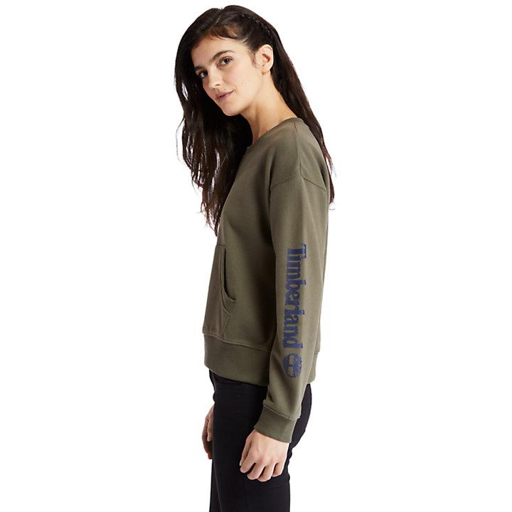 Sweat-shirt avec manche à logo pour femme en vert-