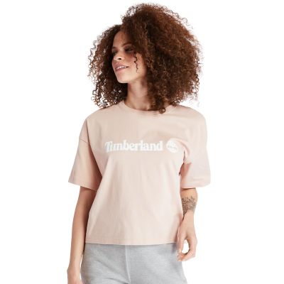 Cropped+T-shirt+voor+Dames+in+roze