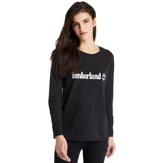 Langärmliges T-Shirt mit Logo in Metallic-Optik für Damen in Schwarz | Timberland