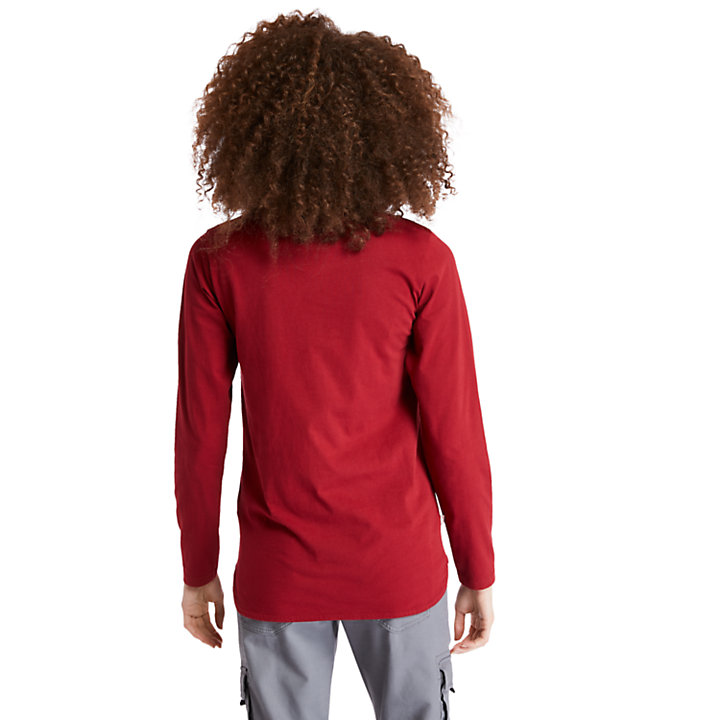 Metallic Logo LS T-Shirt for Women in Red-