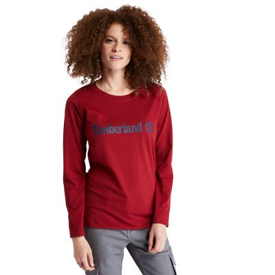 Metallic+Logo+LS+T-Shirt+for+Women+in+Red