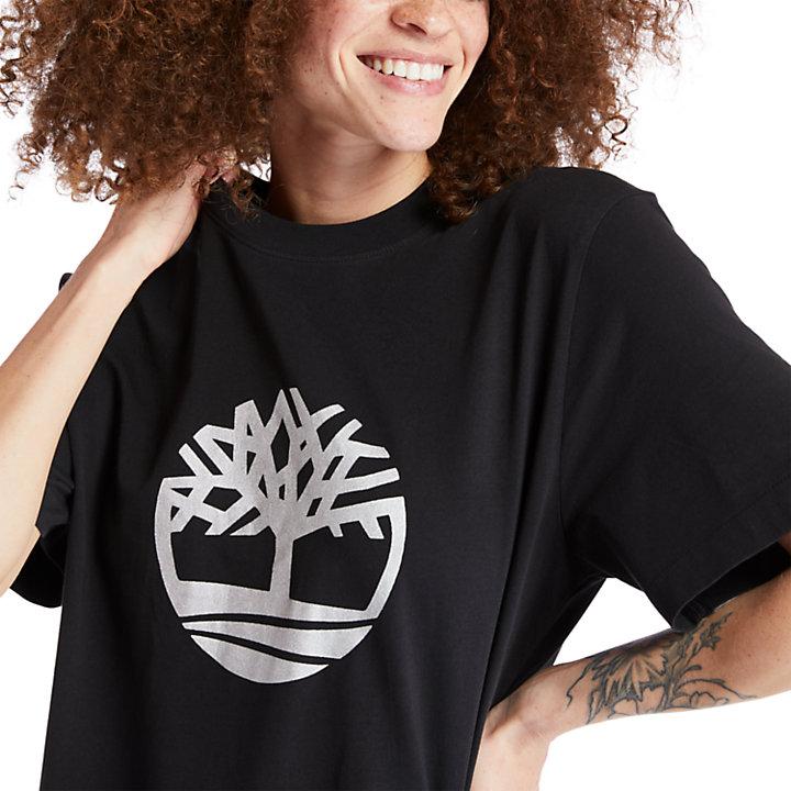 T-shirt oversize à logo arbre pour femme en noir-