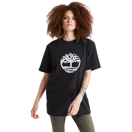 Oversized Tree Logo T-Shirt for Women in Black | Timberland