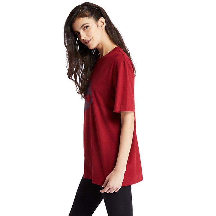 Oversized Tree Logo T-Shirt for Women in Red-
