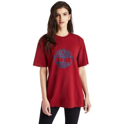 Oversized+Tree+Logo+T-Shirt+for+Women+in+Red