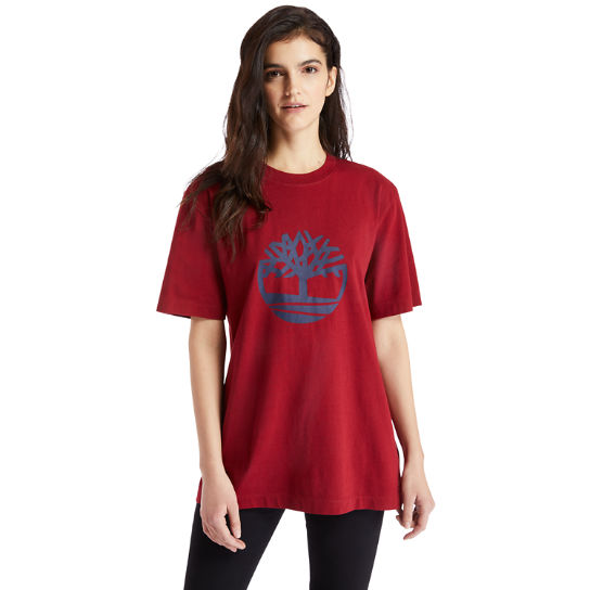 Oversized Tree Logo T-Shirt for Women in Red | Timberland