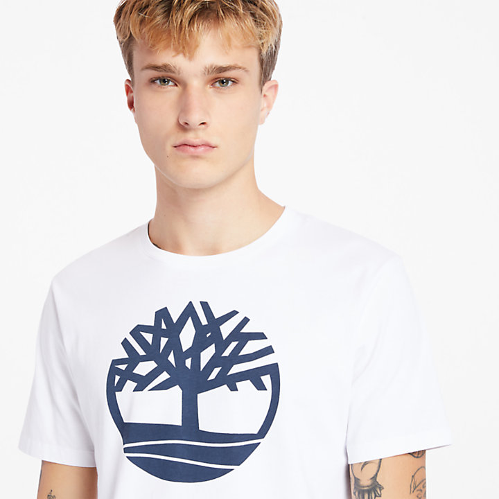 Kennebec River Tree Logo T-shirt for Men in White-