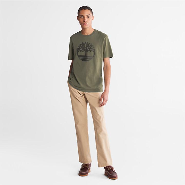 T-shirt da Uomo con Logo ad Albero Kennebec River in verde scuro-