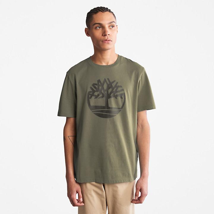 Kennebec River T-shirt met Boomlogo voor heren in donkergroen-