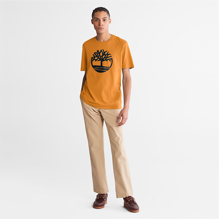 Kennebec River Tree Logo T-shirt for Men in Yellow-