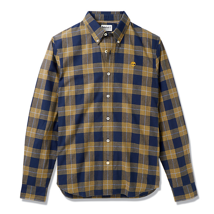Back River Houndstooth Check Shirt for Men in Navy-