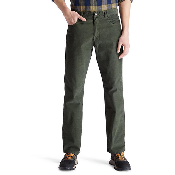 Pantalón de pana elástica Squam Lake en verde oscuro-