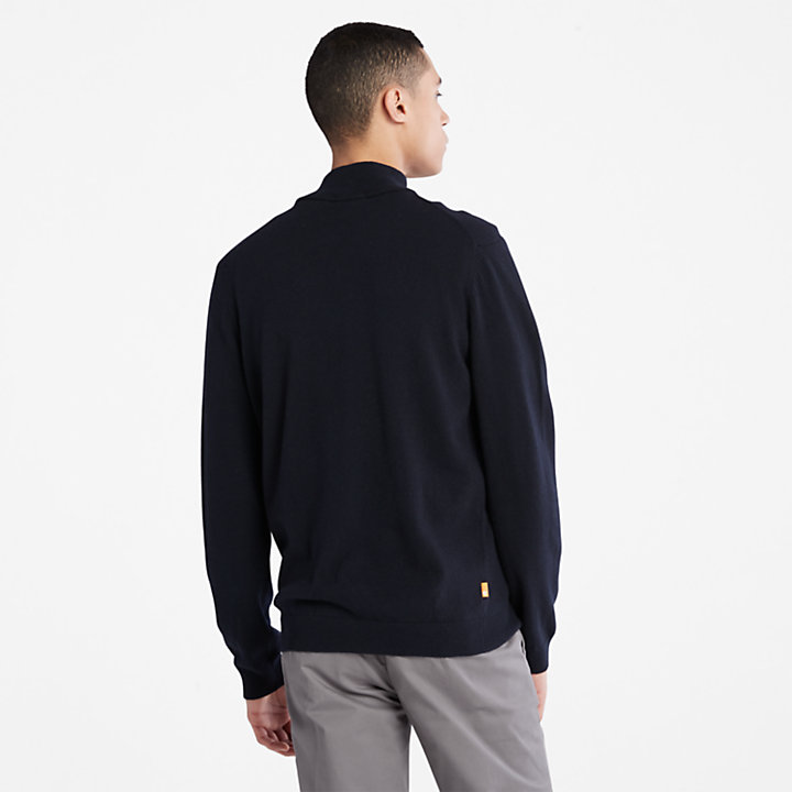 Jersey de Lana de Cordero Phillips Brook para Hombre en azul marino-