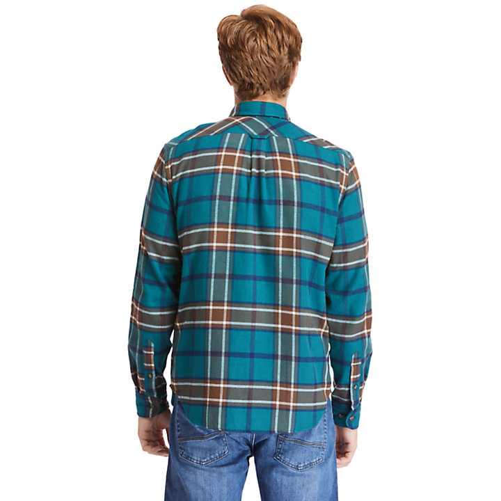 Back River Heavy Flannel Shirt for Men in Teal-
