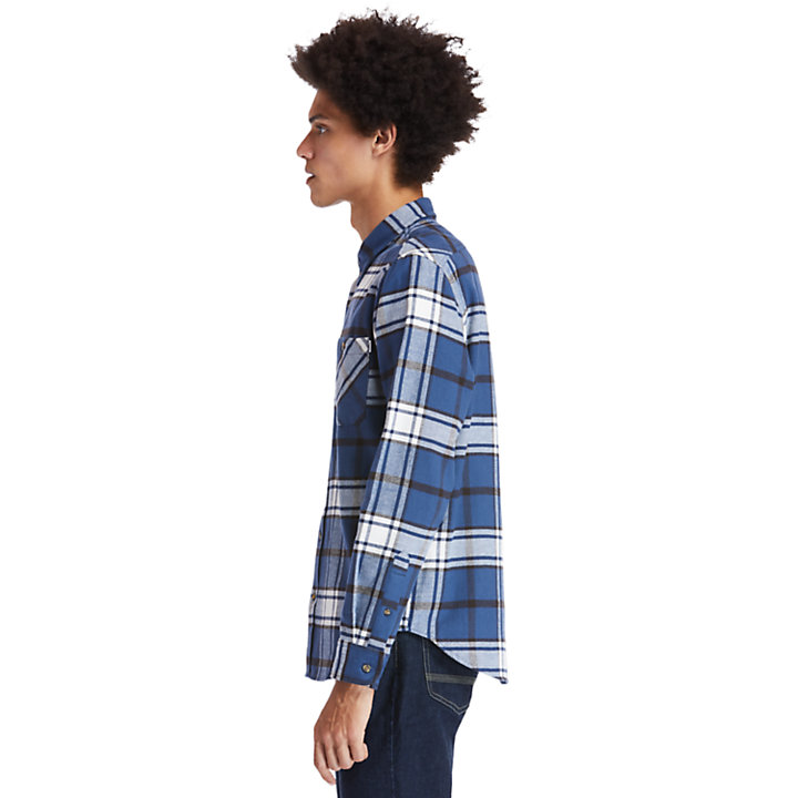 Back River Heavy Flannel Shirt for Men in Blue-