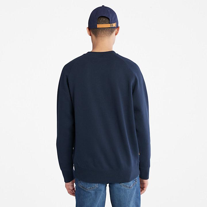 Felpa Girocollo da Uomo con Logo Lineare in blu marino-