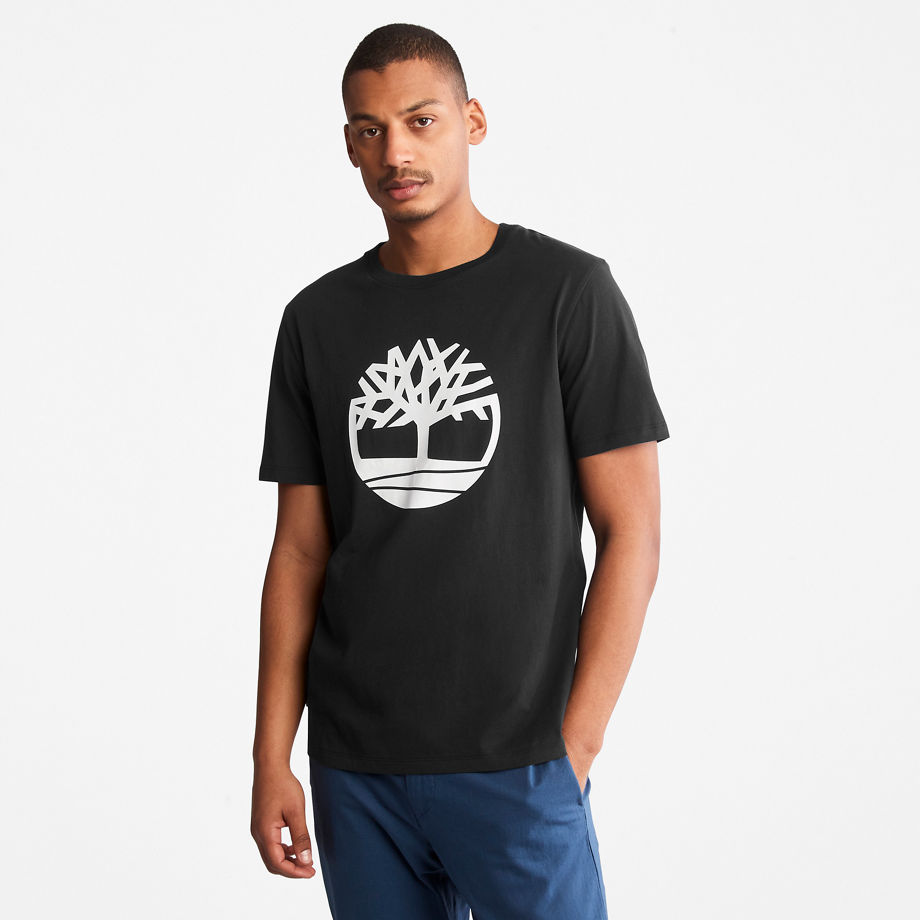 Timberland Tree Logo T-shirt For Men In Black Black, Size M