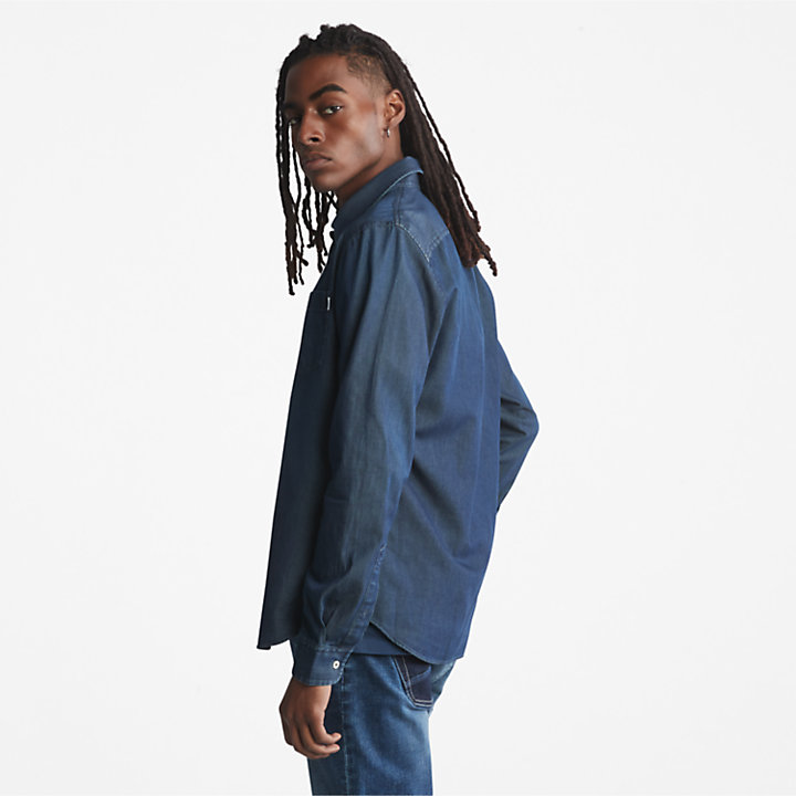 Merrimack River Long-sleeve Denim Shirt for Men in Blue-