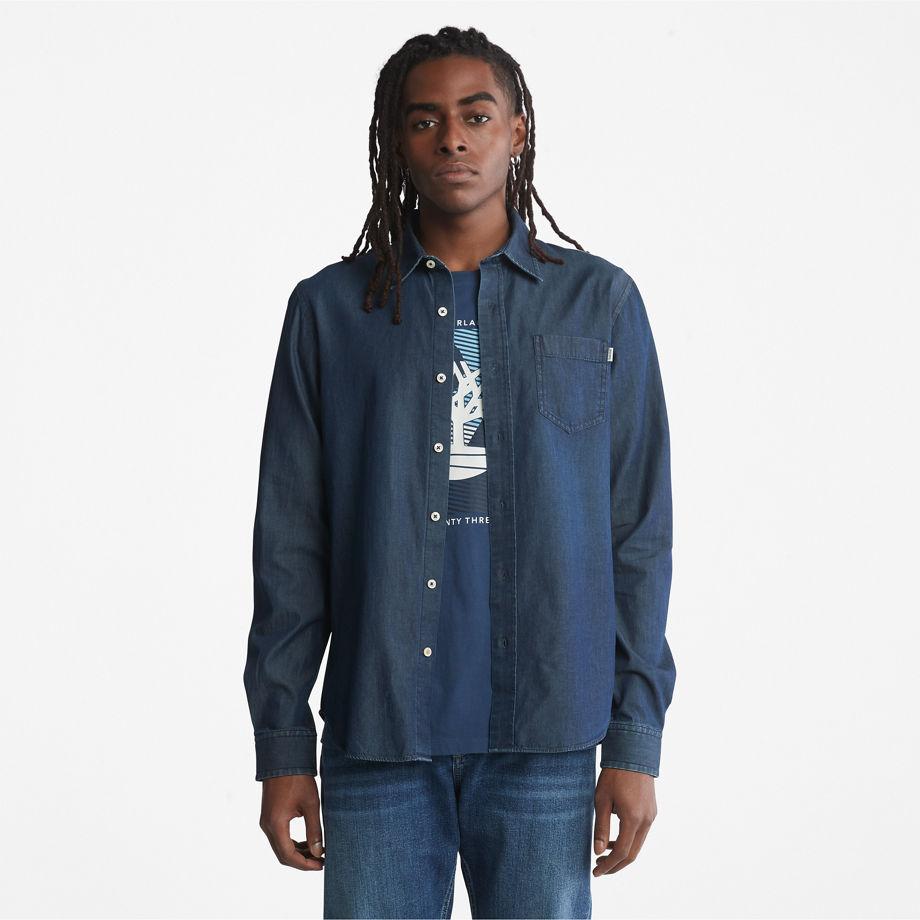 Timberland Merrimack River Long-sleeve Denim Shirt For Men In Blue Blue, Size L