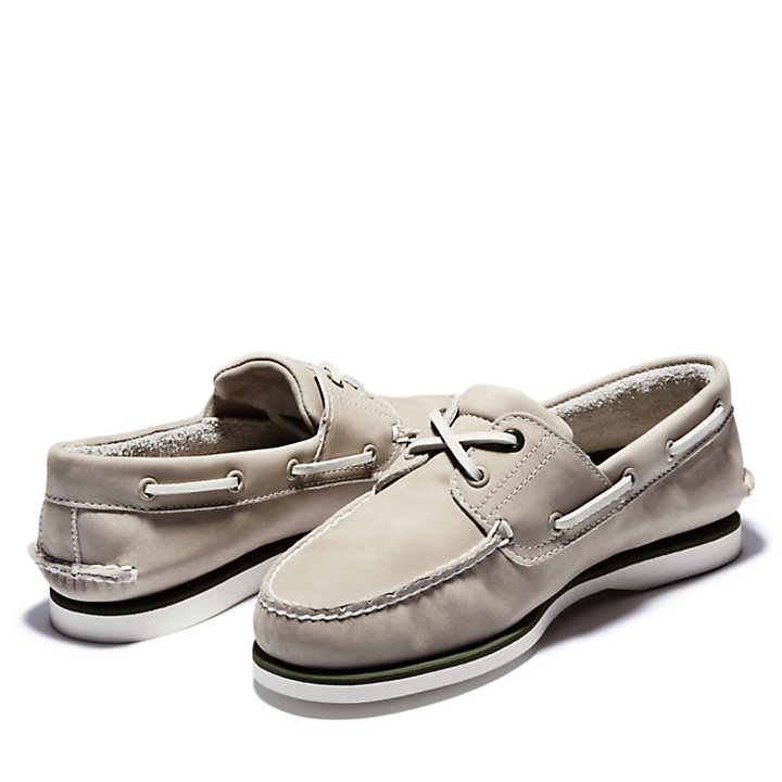 Classic Nubuck Boat Shoe for Men in Light Beige-