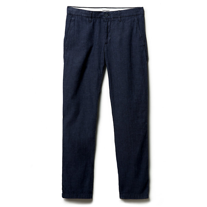 Pantaloni Chino da Uomo in Lino Squam Lake in blu marino