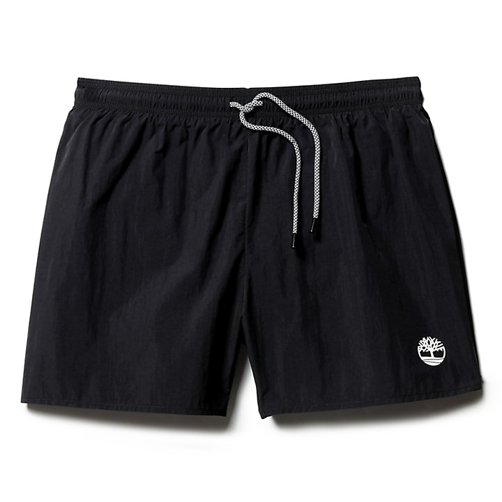 Sunapee Lake Solid Swim Shorts for Men in Black-