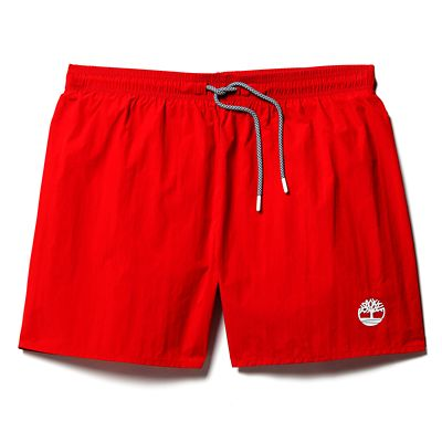 Sunapee+Lake+Solid+Swim+Shorts+for+Men+in+Red