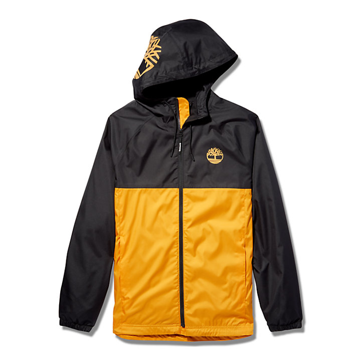 Waterproof Hooded Shell Jacket for Men in Orange-