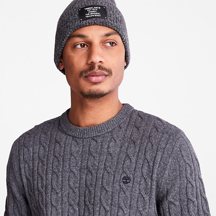 Phillips Brook Cable Sweater for Men in Dark Grey-