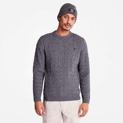 Phillips+Brook+Cable+Sweater+for+Men+in+Dark+Grey