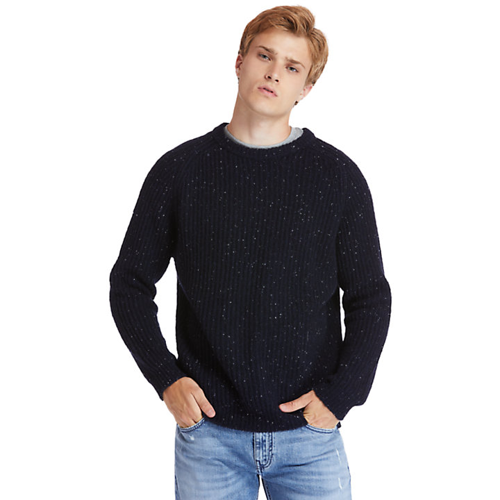Phillips Brook Fisherman Ribbed Sweater for Men in Navy-