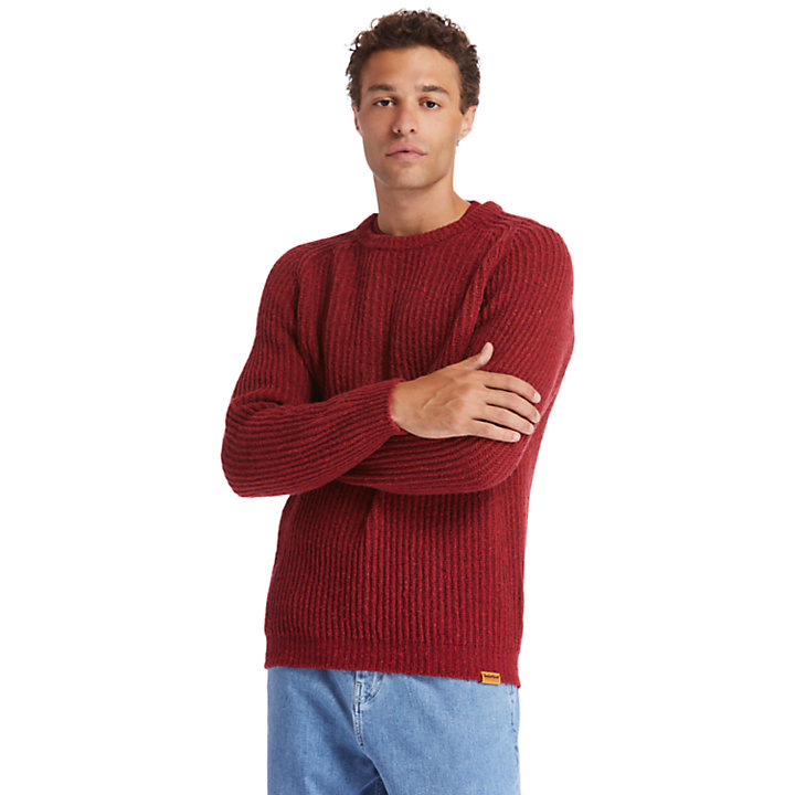 Phillips Brook Fisherman Ribbed Sweater for Men in Red-